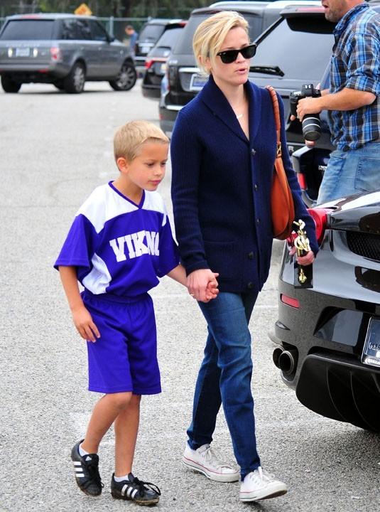 Avec son fils Deacon Reese