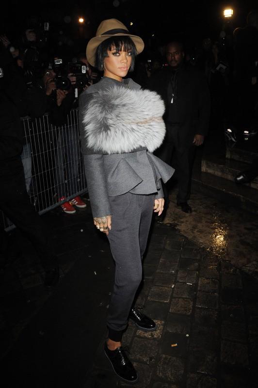 Rihanna lors du défilé Lanvin à Paris, le 27 février 2014.