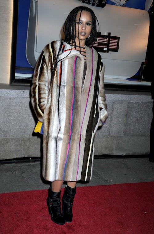 Zoe Kravitz à l'ouverture du flagship Fendi à New York, le 13 février 2015