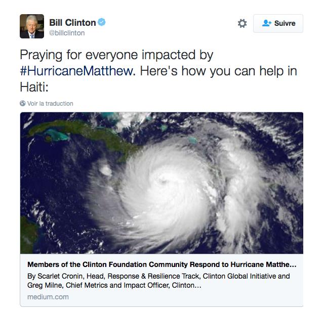 Les people pleurent les victimes de l'ouragan Matthew en Haïti