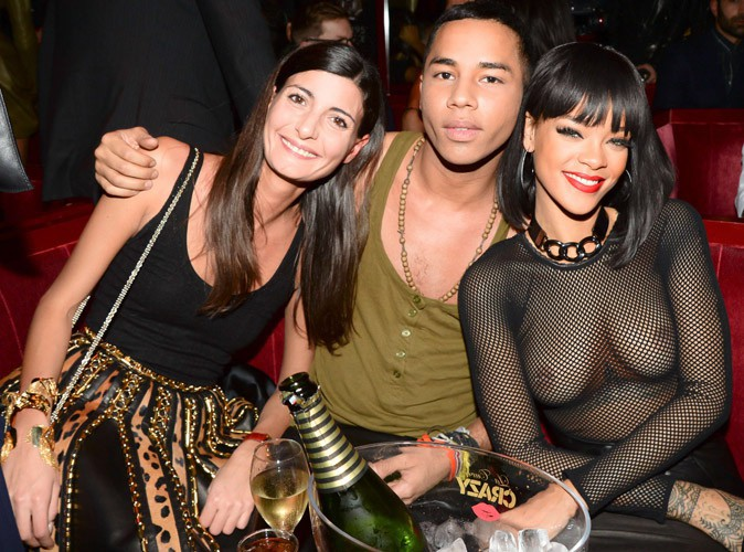 Olivier Rousteing et Rihanna lors de l'after-party de la maison Balmain à Paris, le 27 février 2014.