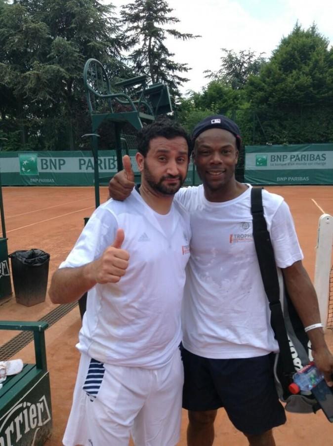 Cyril Hanouna avec Sylvain Wiltord à Roland-Garros pour le tournoi des célébrités le 7 juin 2013