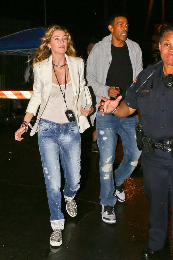 Ellen Pompeo et Chris Ivery au concert de Beyoncé et Jay-Z à Pasadena le 2 août 2014