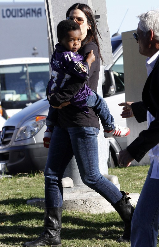 Sandra Bullock et Jackson le 3 février 2013 à La Nouvelle-Orléans