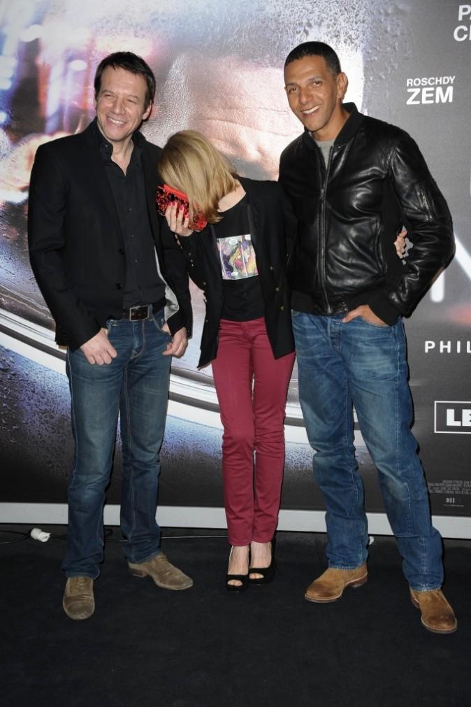 Samuel Le Bihan, Sara Forestier et Roschdy Zem lors de l'avant-première du film Une Nuit, le 2 janvier à Paris.