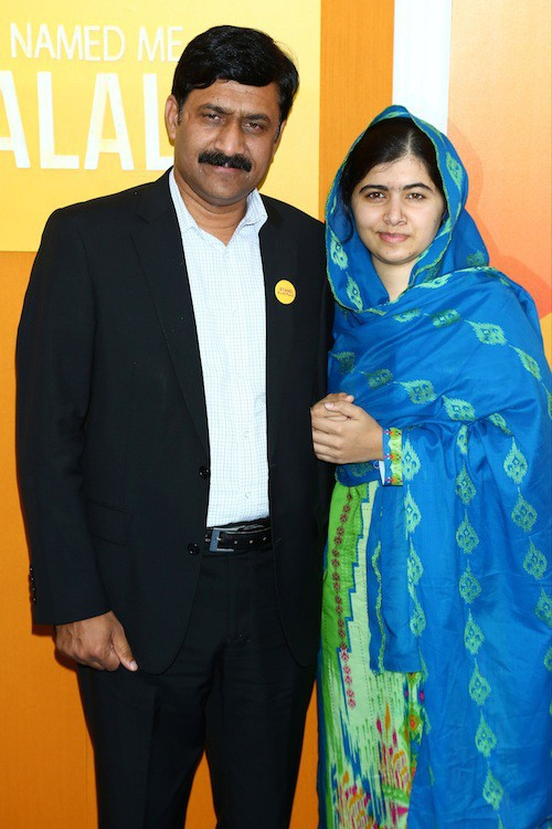 Malala et son père à New York, le 24 septembre 2015