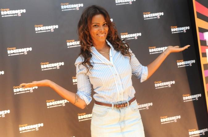 Shy'm lors du photocall du concert Orange RockCorps au Zénith de Paris, le 12 juillet 2012.