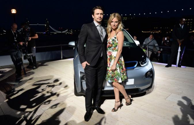 James Franco et Sienna Miller lors du lancement de la nouvelle BMW à Londres, le 29 juillet 2013.