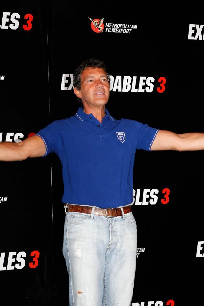 Antonio Banderas lors du photocall d'Expendables 3 à Paris le 7 août 2014.