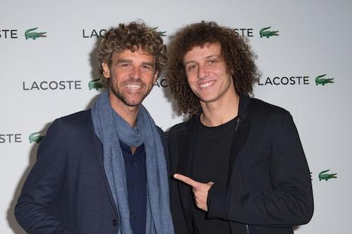 Gustavo Kuerten et David Luiz à la soirée Lacoste à Paris, le 22 janvier 2014