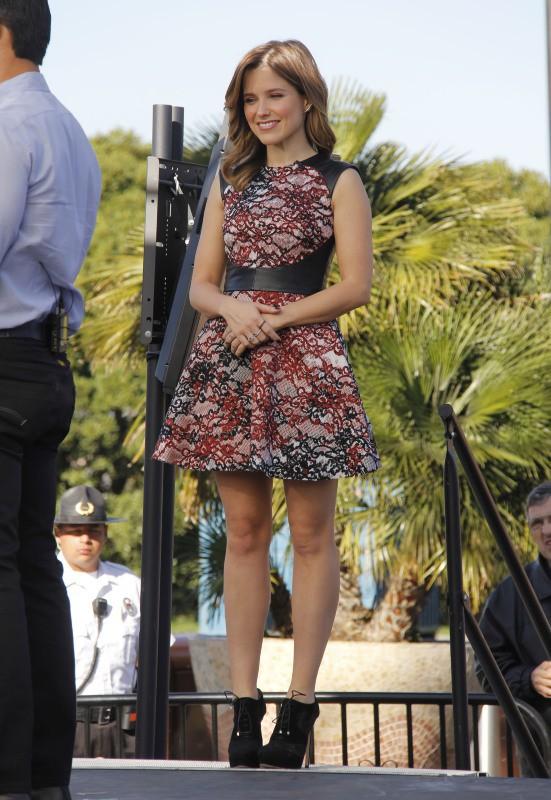 Sophia Bush et Mario Lopez sur le plateau de l'émission Extra à Los Angeles, le 20 janvier 2014.