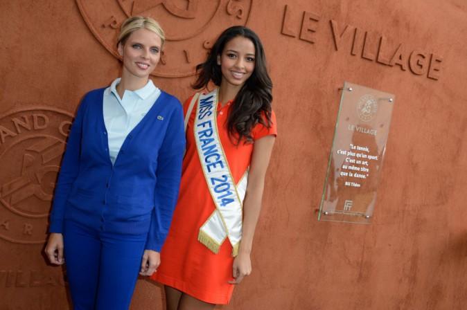 Sylvie Tellier et Flora Coquerel à Roland Garros, le 3 juin 2014.