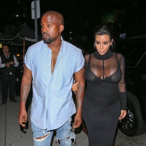 Kim Kardashian et Kanye West à Los Angeles, le 9 août 2015