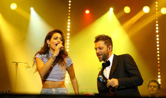 Tal avec Christophe Maé sur la scène du festival Musik'elles de Meaux le 21 septembre 2013