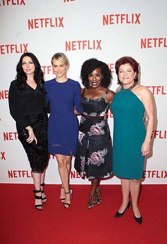 Laura Prepon, Taylor Schilling, Uzo Aduba et Kate Mulgrew à Paris le 15 septembre 2014