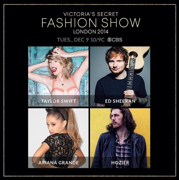 Taylor Swift, Ariane Grande et Ed Sheeran : choisis pour ambiancer le prochain défilé Victoria's Secret !