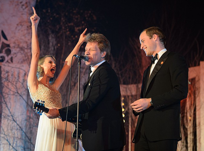 Taylor Swift, Jon Bon Jovi et le Prince William à Londres le 26 novembre 2013