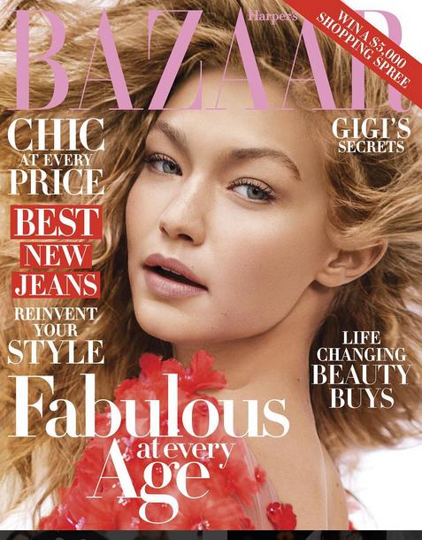 Gigi Hadid en couverture du Harper's Bazaar