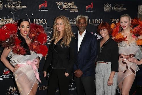 Adriana Karembeu, Satya Oblette et Fauve Hautot au Top Model Belgium 2015, à Paris, le 10 mai 2015