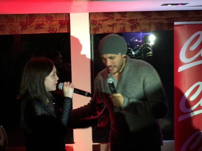 Leslie et Merwan Rim lors de la tournée Pop Love Chérie fm à Paris, le 29 janvier 2013.