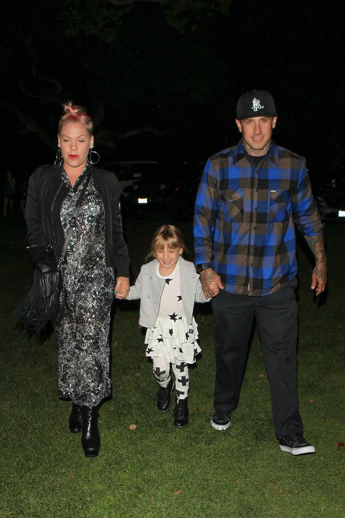 Pink, son mari Carey Hart et leur fille au concert de Beyoncé à Los Angeles le 15 mai 2016