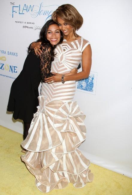 Tyra Banks et Rosario Dawson lors du Flawsome Ball à New York, le 18 octobre 2012.