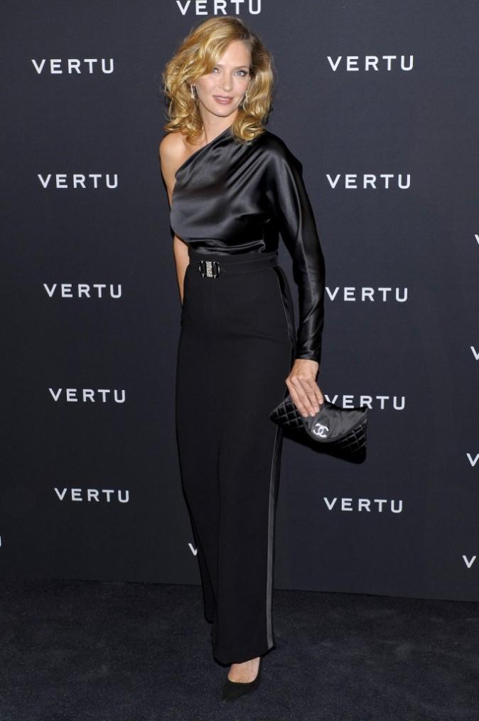 """Uma Thurman lors de la soirée Vertu global launch of """"The Constellation"""" à Milan, le 18 octobre 2011."""