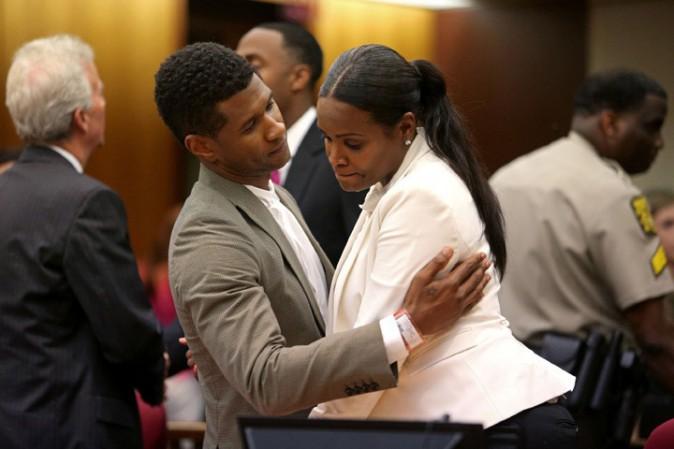 Usher et Tameka Foster au tribunal d'Atlanta le 9 août 2013