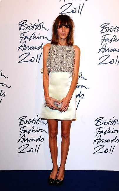 Alexa Chung lors de la soirée des British Fashion Awards à Londres, le 28 novembre 2011.