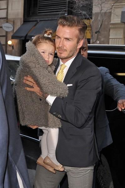 David Beckham en famille à New York, le 9 février 2014.