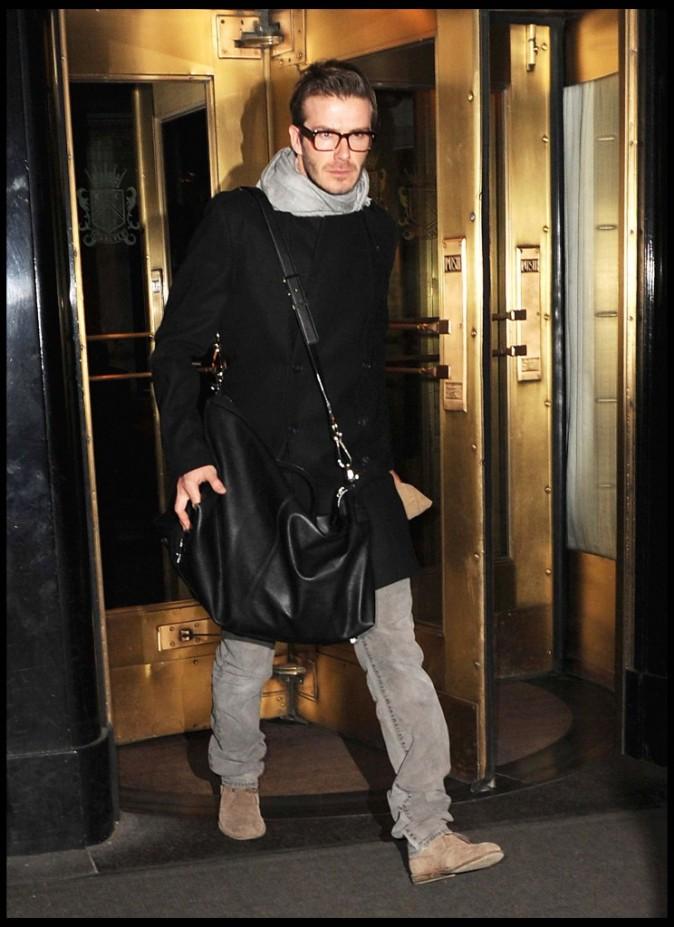David Beckham sortant de son hôtel de luxe à Manhattan, le 16 février 2011.