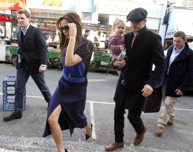Victoria Beckham, David et Harper le 18 février 2013 à Londres