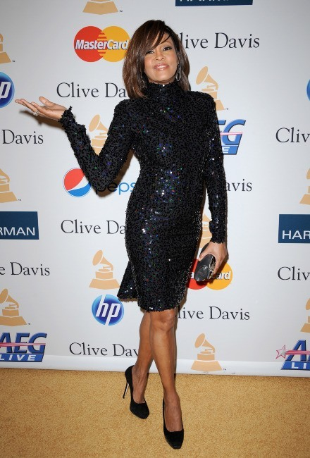 Whitney Houston lors de la pre-grammy party organisée par Clive Davis à Los Angeles, le le 12 février 2011.