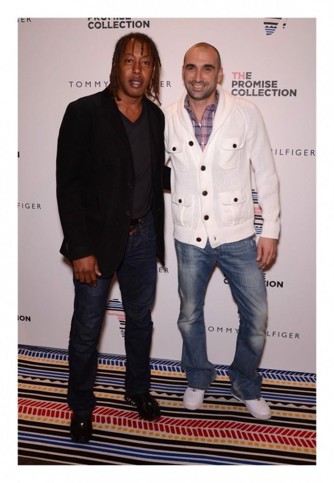 Jackson Richardson et Jérôme Alonzo lors de la soirée Tommy Hilfiger à paris, le 26 avril 2012.