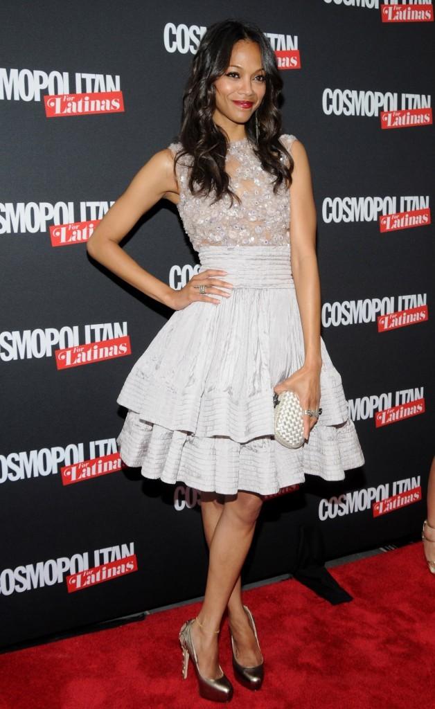 Zoe Saldana lors de la soirée de lancement du magazine Cosmopolitan for Latinas à New York, le 9 mai 2012.