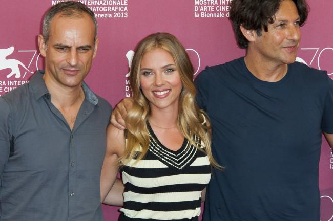 Jonathan Glazer, Scarlett Johansson et James Wilson en promo à Venise, le 3 septembre 2013.