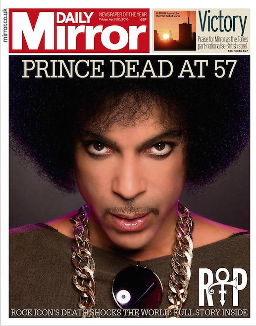 """Photos : Prince : les """"unes"""" du monde entier saluent la mémoire d'une idole"""