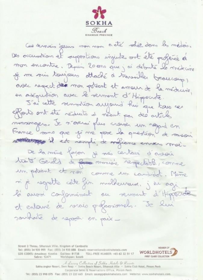 La lettre de Thierry Costa, rendue publique par sa famille