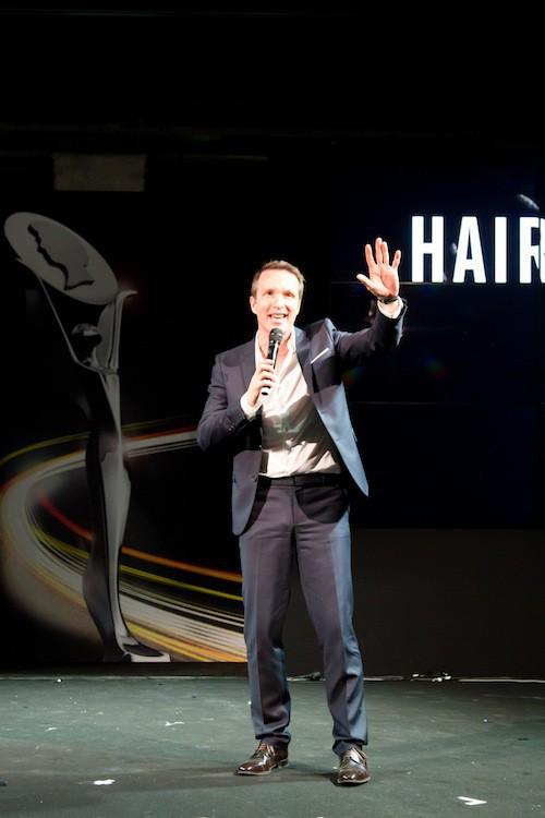 Stéphane Rotenberg anime les Hairdressing Awards 2015 organisés par Schwarzkopf, à Paris le 29 mars