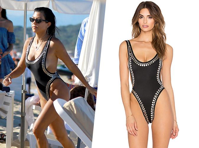 Shopping copie conforme : Le maillot de bain une pièce clouté de Kourtney Kardashian