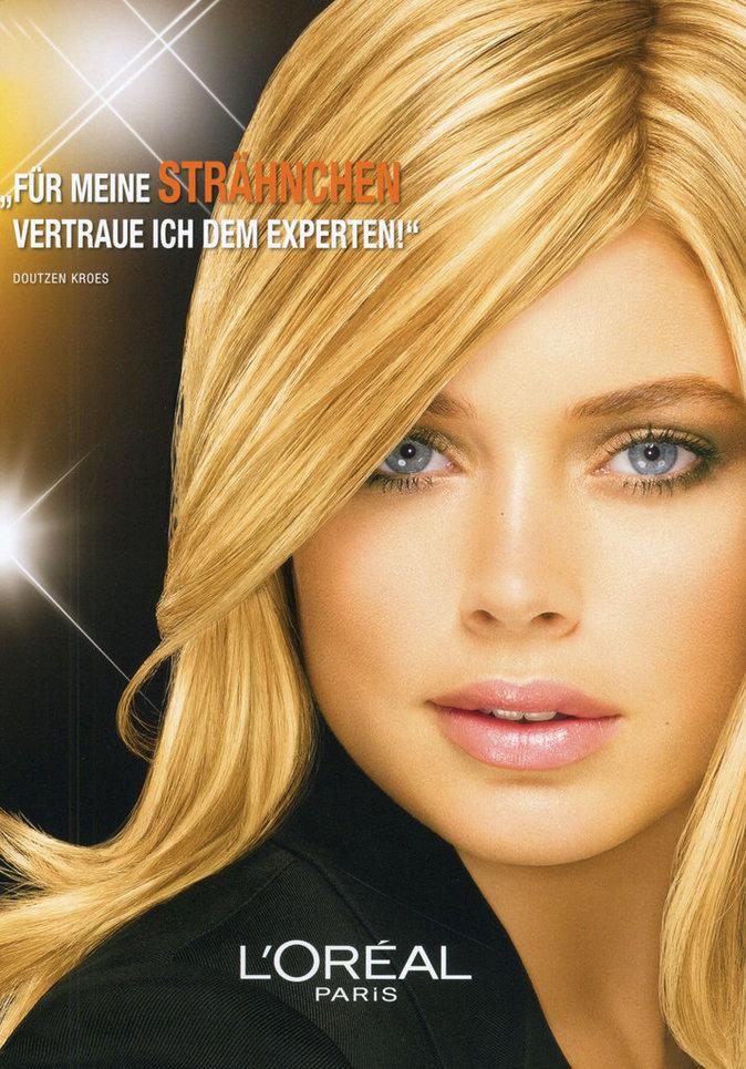 Doutzen Kroes pour la publicité des shampoings Elsève